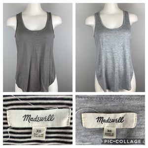 Lot of 2 Madewell Strum Tank Tops Gray & Stripe xs